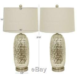 Decor Therapy Antique Mercury Glass Dimple 27.5 Clear Table Lamp withShade 2 pc