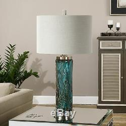 Designer Crafted 30 Blue Glass Table Lamp Brushed Nickel Metal Linen Shade