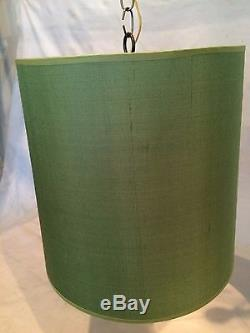 Drum Shape Swag Fabric Hanging Lamp shade Plug in 14 w Green Color