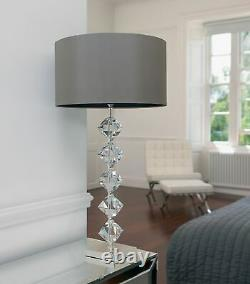 Elegant Table Lamp Crystal Silver Plate Mink Faux Silk Shade with Black Inner