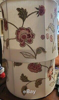 Embroided floral lamp shade with raised detail