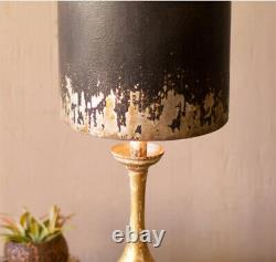 Farmhouse Distressed Finish Table Lamp Black Gold Metal Drum Shade Rustic