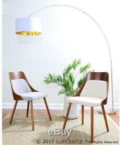 Floor Arc Lamp withWhite and amp Gold Drum Shade 76 In. Foot Step Switch Satin
