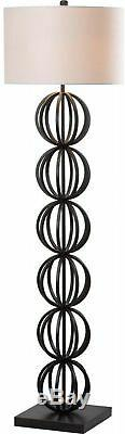 Floor Lamp 59 in. Black Sphere On/off Rotary Switch with Off-White Drum Shade
