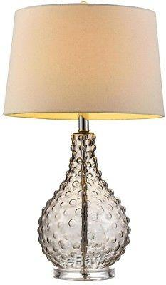 Glass Table Lamp 27 in. Castlerock Drum White Linen Lampshade Acrylic Clear Base