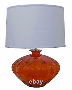 Glass Table Lamp with Drum Shade
