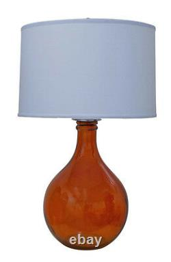 Glass Table Lamp with Drum Shade 30 Tall