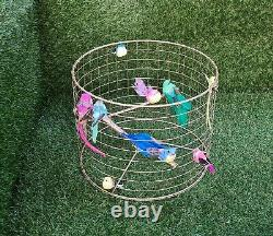 Gold Birdcage Lampshade Cage Shade Rainbow Bird Light Lamp Home Decoration Neon