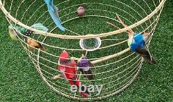 Gold Birdcage Lampshade Wire Cage Shade Rainbow Bird Light Lamp Home Decoration