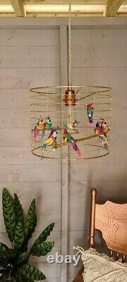 Gold Tropical Parrot Birdcage Cage Shade Chandelier Light Bird Lightshade Pink