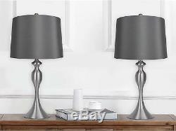 Grandview Gallery Table Lamps with Dark Grey Lamp Shade, Set of 2 Brushed Body
