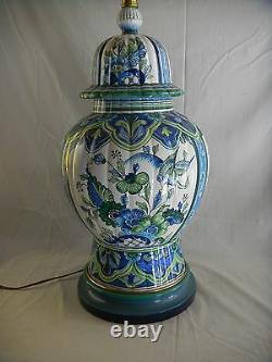 Great Lg. Mid Century signed Marbo Italian Art Pottery Lamp with Orig. Shade