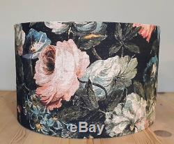 HOUSE of HACKNEY Midnight Garden floral pink roses fabric drum lampshade 35 40cm