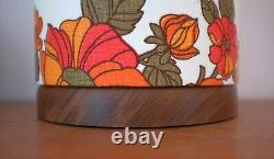 Hand Turned Wooden Lamp with Original Midcentury Fabric Tall Lampshade- Retro