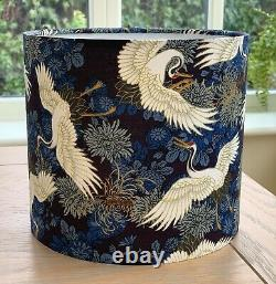 Handmade Lampshade Japanese Oriental Cranes Fabric Floral Navy Blue Gold Exotic