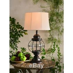 Hatteras Table Lamp w Glass Globe Base and White Shade ID 13341