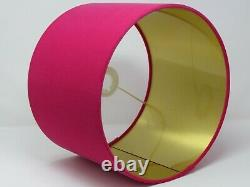 Hot Pink Velvet Fabric Drum Lampshade with Brushed Gold Light Shade