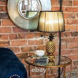 Isla Antique Gold Pineapple Shaped Table Lamp & Black Pleated Shade Luxury 59cm