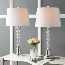 JONATHAN Y Kinsley 28 in. Clear/Chrome Crystal Table Lamp (Set of 2)