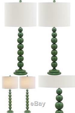 Jenna 31 In. Marine Blue Stacked Ball Table Lamp With Off-White Shade (Set Of 2)