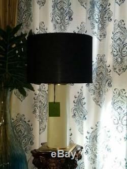 KATE SPADE Tall Glass Cylinder Cream Ivory Gold Black Drum Shade TABLE LAMP