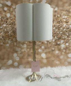 Kate Spade Brushed Gold Candlestick Table Lamp Cream Scalloped Shade