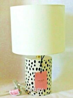 Kate Spade Flamingo Dot Black & White on Beige Ceramic Table Lamp and Shade New