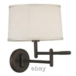Kenroy Home Theta Copper Bronze Wall Swing Arm Lamp with Fabric Shade