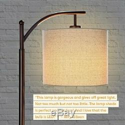 LED Floor Lamp Classic Arc with Hanging Shade Tall Bronze