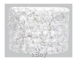 Large Drum Shade with Solid Rose Garden Pattern in White ID 3288481