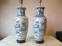 Large Pair Of Vintage Chinese Blue & White Porcelain Table Lamps Vintage Shades