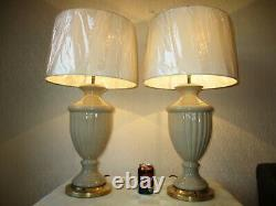 Large Pair Of Vintage Crackle Glaze Ceramic Vase Table Lamps With New Shades