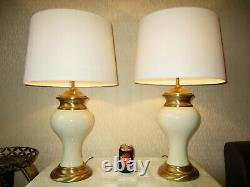 Large Pair Of Vintage Porcelain And Antique Brass Table Lamps With New Shades