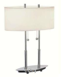Lite Source Table Lamp, Polished Silver White Fabric Shade LS-3821PS-WHT