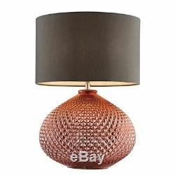 Livia Table Lamp 60W SW Copper Glass Base With Grey Faux Silk Shade 77097
