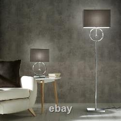 Lizzy Chrome Table Lamp/ Floor Lamp With Grey Shades And Crystal Hanging Pendant