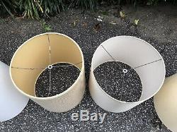 Lot Of 6 Vintage Mid Century Drum Barrel Round Tall Lamp Shades Beige And White
