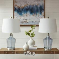 Luxury Set of 2 Blue Glass Table Lamps withWhite Drum Shape Shade 24H