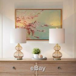 Luxury Set of 2 Pink Glass Table Lamps withWhite Drum Shape Shade 23H