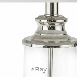 Luxury Set of 2 Silver & Glass Table Lamps withOff White Drum Shape Shade 26H