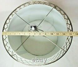 Metal Cut Out Lamp Shade 9 x 14 Round Drum Style Silver Over White Fabric