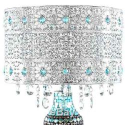 Metal Mosaic Hanging Glass Crystals Silver 24.25-inch High Table Lamp 13'L X