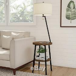 Mid-Century Modern Style Side Table Floor Lamp End Table With Drum Shaped Shade