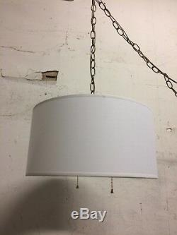 Mid century Modern 15 w Swag Hanging Fabric Lamp shade Plug in 15' cord off