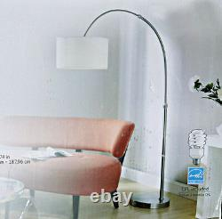 Modern 79 Adjustable Arc Arch Floor Lamp Brushed Nickel White Fabric Shade