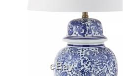 Modern Ceramic Jar Table Lamp Blue White Floral Pattern Finish with Drum Shade