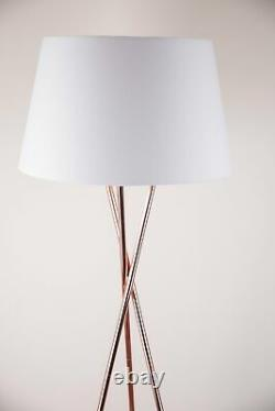 Modern Copper Stem Tripod Floor Lamp with Matching White Fabric Light Shade