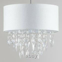 Modern Large 40cm Easy Fit Jewelled White Silver Fleck Light Chandelier Shade