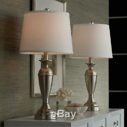 Modern Table Lamps Set 2 Brushed Steel Metal White Drum Shade For Living Room