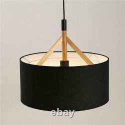 Modern Wood Pendant Lamp Fabric Drum Shade Chandelier Light Fixture Ceiling